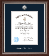 Omicron Delta Kappa Honor Society Certificate Frame - 8.5'x11' - Silver Engraved Medallion Certificate Frame in Devonshire