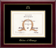 Order of Omega Certificate Frame - Gold Embossed Certificate Frame in Gallery