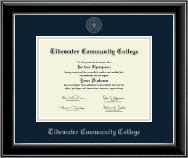 Tidewater Community College Diploma Frame - Silver Embossed Diploma Frame in Onyx Silver
