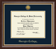Georgia College Diploma Frame - Gold Engraved Medallion Diploma Frame in Hampshire