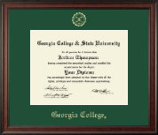 Georgia College Diploma Frame - Gold Embossed Diploma Frame in Studio