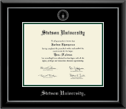 Stetson University Diploma Frame - Silver Embossed Diploma Frame in Onyx Silver