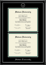 Stetson University Diploma Frame - Double Document Diploma Frame in Onyx Silver