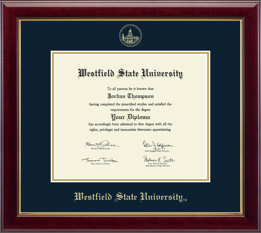Westfield State University Gold Embossed Diploma Frame In
