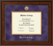 Whittier College Diploma Frame - Presidential Gold Engraved Diploma Frame in Madison