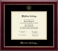 Whittier College Diploma Frame - Gold Embossed Diploma Frame in Gallery