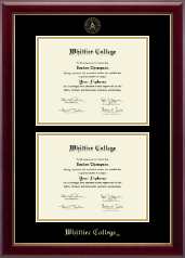 Whittier College Diploma Frame - Double Document Diploma Frame in Gallery