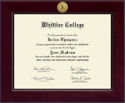 Whittier College Diploma Frame - Century Gold Engraved Diploma Frame in Cordova