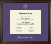 Whittier College Diploma Frame - Gold Embossed Diploma Frame in Studio