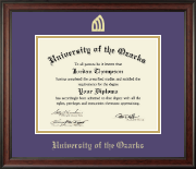 University of the Ozarks Diploma Frame - Gold Embossed Diploma Frame in Studio