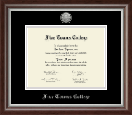 Five Towns College Diploma Frame - Silver Engraved Medallion Diploma Frame in Devonshire