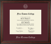 Five Towns College Diploma Frame - Silver Embossed Diploma Frame in Studio