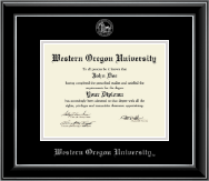 Western Oregon University Diploma Frame - Silver Embossed Diploma Frame in Onyx Silver