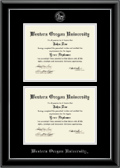 Western Oregon University Diploma Frame - Double Diploma Frame in Onyx Silver