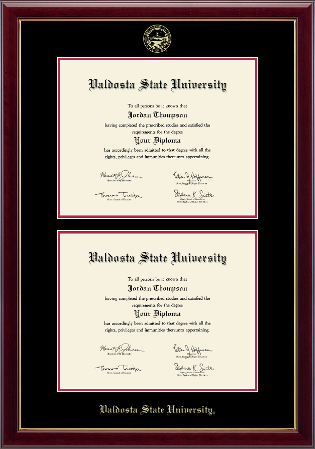 valdosta state university double document diploma frame in gallery item 239044