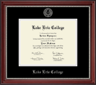 Lake Erie College Diploma Frame - Silver Embossed Diploma Frame in Kensington Silver