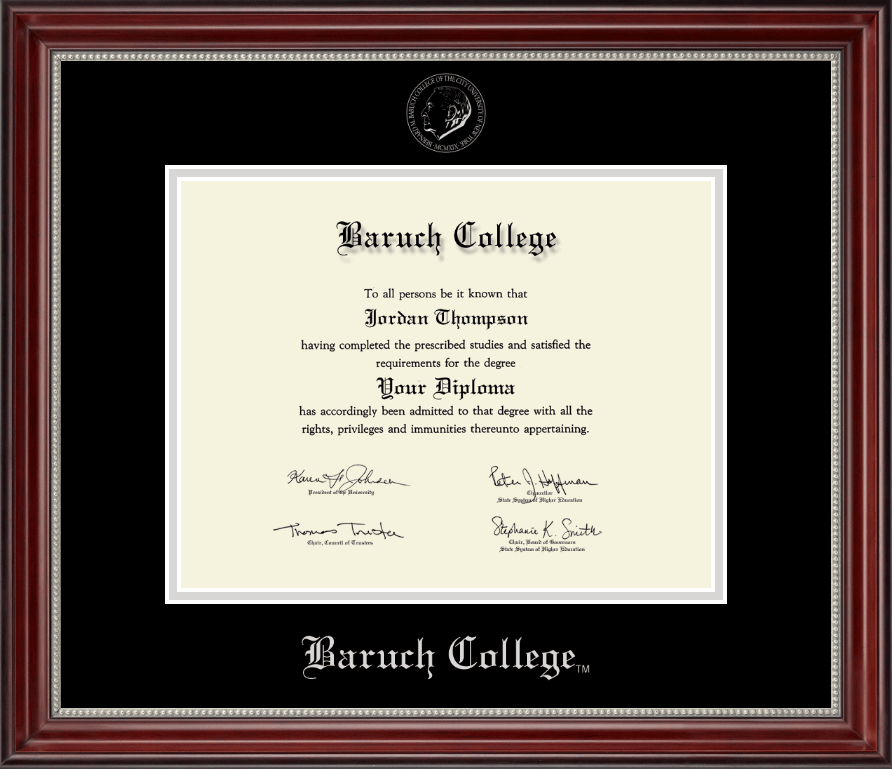 Baruch College Silver Embossed Diploma Frame in Kensington Silver ...