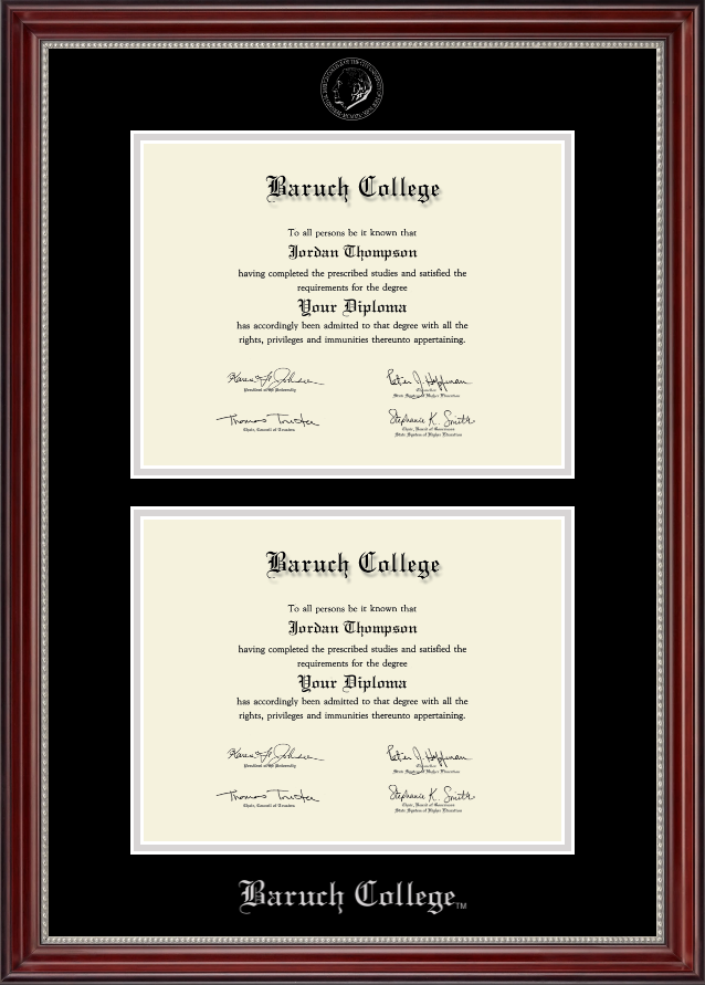 Baruch College Double Diploma Frame in Kensington Silver - Item ...