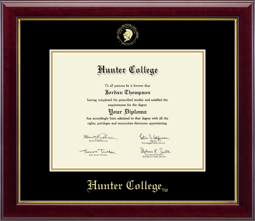Hunter College Gold Embossed Diploma Frame in Gallery - Item #239248