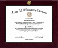 Texas A&M University - Commerce Diploma Frame - Century Gold Engraved Diploma Frame in Cordova