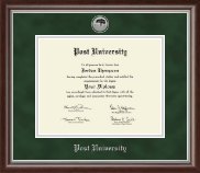 Post University Diploma Frame - Silver Engraved Medallion Diploma Frame in Devonshire