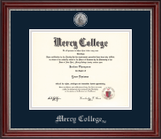 Mercy College Diploma Frame - Silver Engraved Medallion Diploma Frame in Kensington Silver