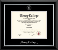 Mercy College Diploma Frame - Silver Embossed Diploma Frame in Onyx Silver