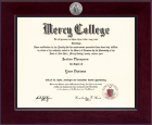 Mercy College Diploma Frame - Century Silver Engraved Diploma Frame in Cordova