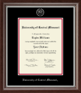 University of Central Missouri Diploma Frame - Silver Embossed Diploma Frame in Devonshire