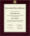 University of Central Missouri Diploma Frame - Century Gold Engraved Diploma Frame in Cordova