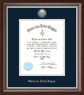 Omicron Delta Kappa Certificate Frame - 8'x10' - Silver Engraved Medallion Certificate Frame in Devonshire