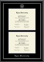 Lynn University Diploma Frame - Double Diploma Frame in Onyx Silver