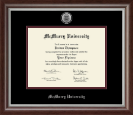 McMurry University Diploma Frame - Silver Engraved Medallion Diploma Frame in Devonshire