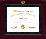 Friends of Todai, Inc. Certificate Frame - Millennium Gold Engraved Certificate Frame in Cordova