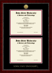 Iowa State University Diploma Frame - Gold Engraved Double Diploma Frame in Sutton