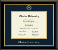 Clarion University of Pennsylvania Diploma Frame - Gold Embossed Diploma Frame in Onyx Gold