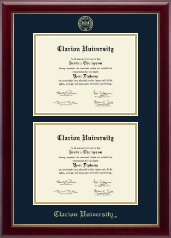 Clarion University of Pennsylvania Diploma Frame - Double Document Diploma Frame in Gallery
