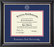 Louisiana Tech University Diploma Frame - Silver Embossed Diploma Frame in Noir