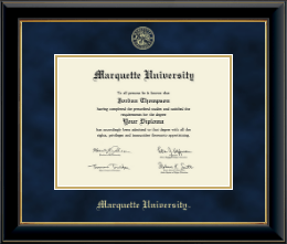 Marquette University Diploma Frame - Gold Embossed Diploma Frame in Onyx Gold