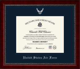 United States Air Force Certificate Frame - Silver Embossed Certificate Frame in Sutton