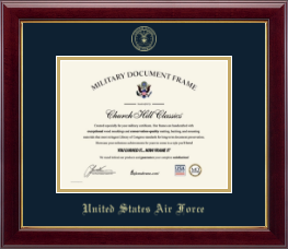 United States Air Force Certificate Frame - Gold Embossed Certificate Frame in Gallery