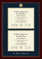 St. Mary's University Diploma Frame - 23K Double Diploma Frame in Sutton