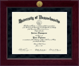University of Massachusetts Boston Diploma Frame - Millennium Gold Engraved Diploma Frame in Cordova