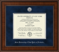 State University of New York at Fredonia Diploma Frame - Presidential Silver Engraved Diploma Frame in Madison
