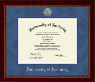 University of Kentucky Diploma Frame - Silver Engraved Medallion Diploma Frame in Sutton