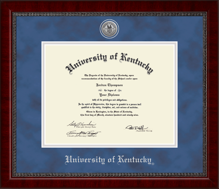 University Of Kentucky Silver Engraved Medallion Diploma