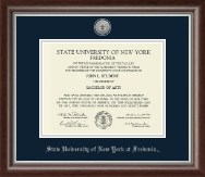 State University of New York at Fredonia Diploma Frame - Silver Engraved Medallion Diploma Frame in Devonshire