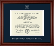 State University of New York at Fredonia Diploma Frame - Silver Embossed Diploma Frame in Cambridge