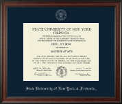 State University of New York at Fredonia Diploma Frame - Silver Embossed Diploma Frame in Studio