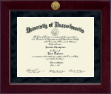 University of Massachusetts Amherst Diploma Frame - Millennium Gold Engraved Diploma Frame in Cordova